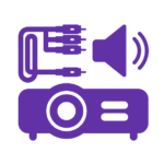 icon of AV, Video projector, video cable, loudspeaker, sound waves