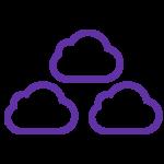 Icon of multivendor, three clouds